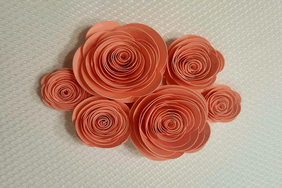 cluster of finished roll paper flowers