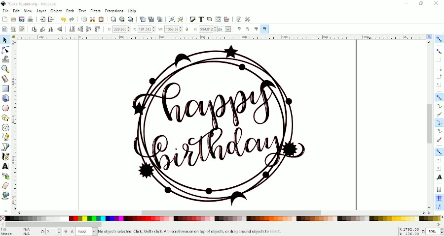 "screen shot showing top layer of ""happy birthday"" cake topper"
