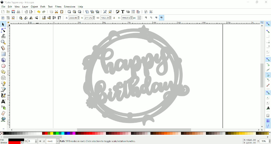 "screen shot showing bottom layer of ""happy birthday"" cake topper"
